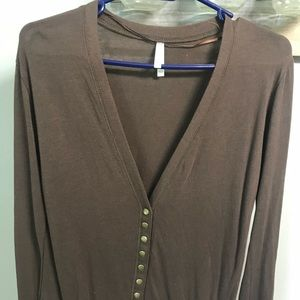 Sweaters - Brown cardigan, gold buttons